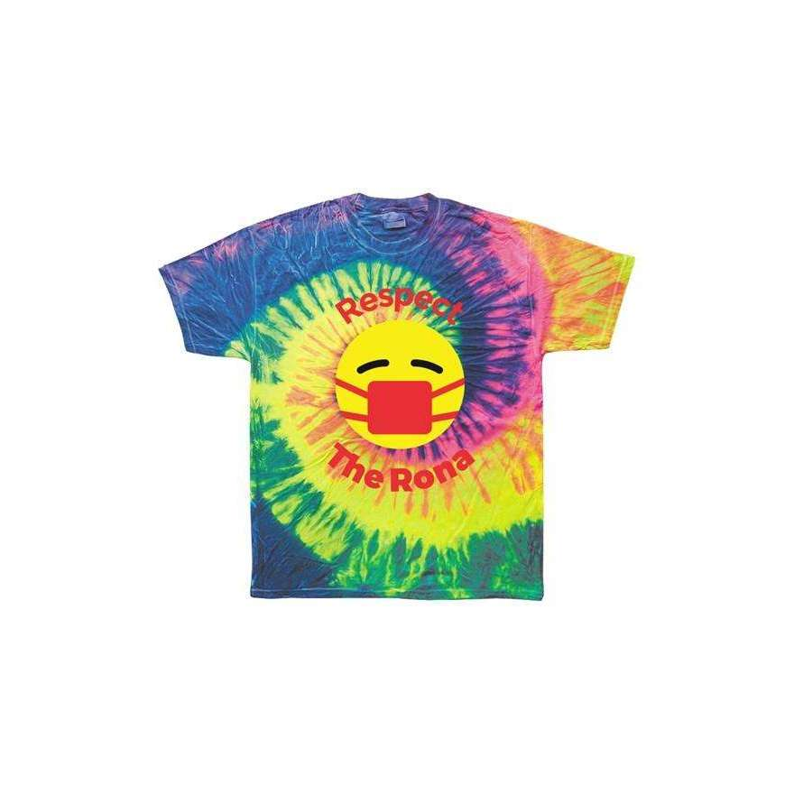 Respect The Rona:Respect The Rona Tie Dye Neon Rainbow Adult Tee