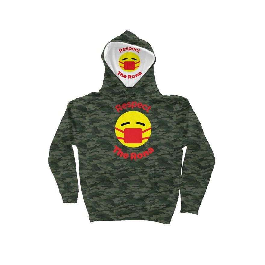 Respect The Rona:Respect The Rona Camo Independent Heavyweight Hoodie