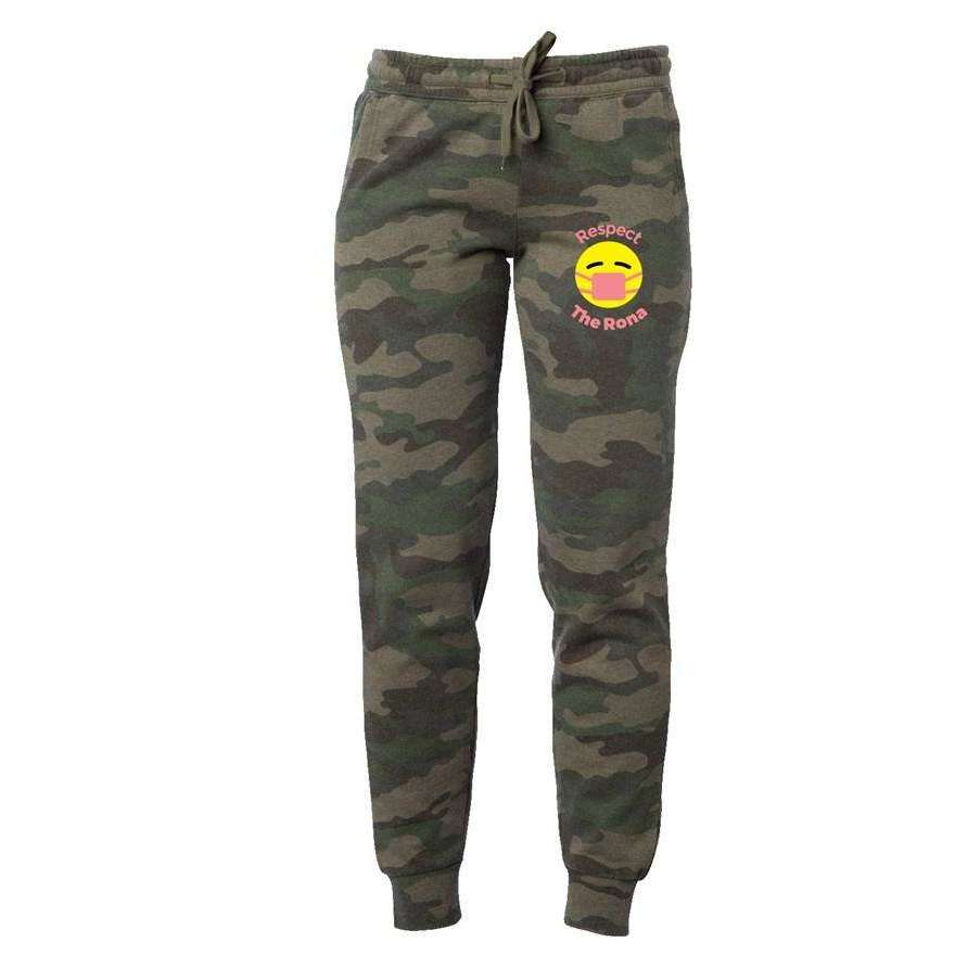 Respect The Rona:Respect The Rona Camo Wash Sweatpants (Pink)