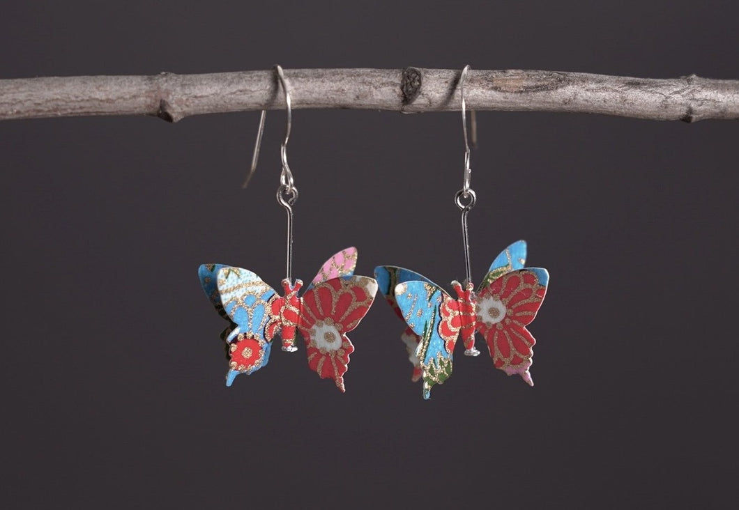 3B-55 (Handmade Washi butterfly earrings)