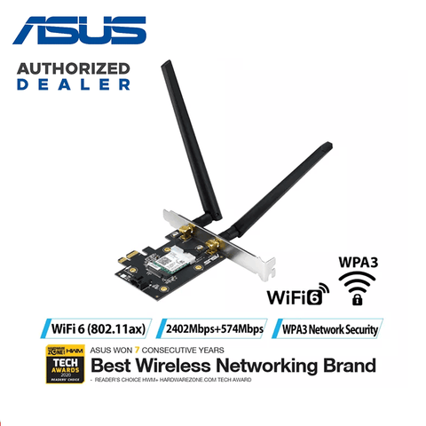 ASUS AX3000 [PCE-AX3000] Dual Band PCI-E Wifi 6 802. 11AX + Bluetooth 5.0 Network Card