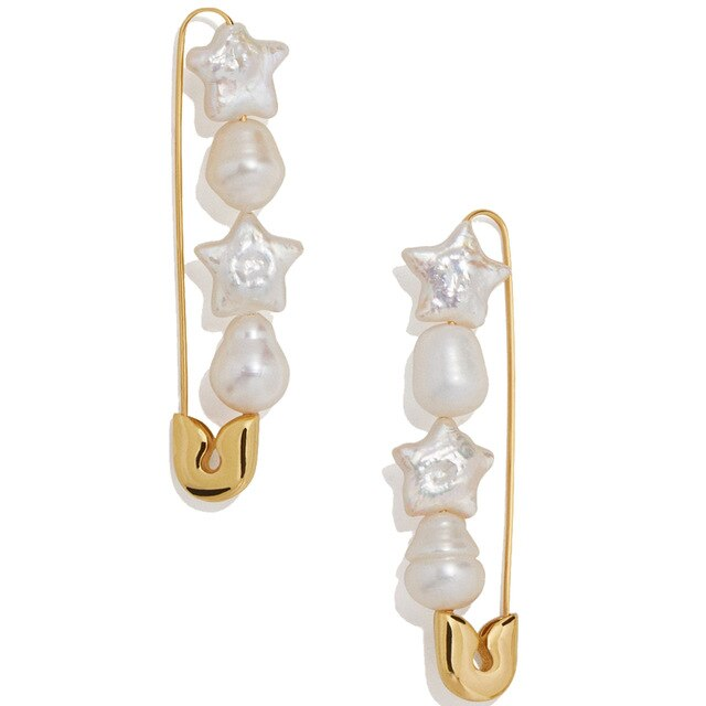 VIcult Simulated Pearls Stars Hearts Bowknot Statement Earrings