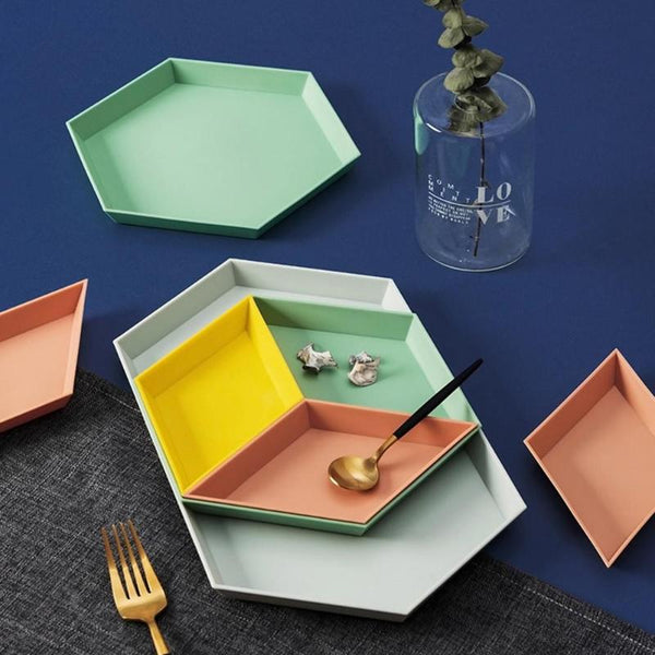 VICULT 4pcs Geometric Colorful Tray