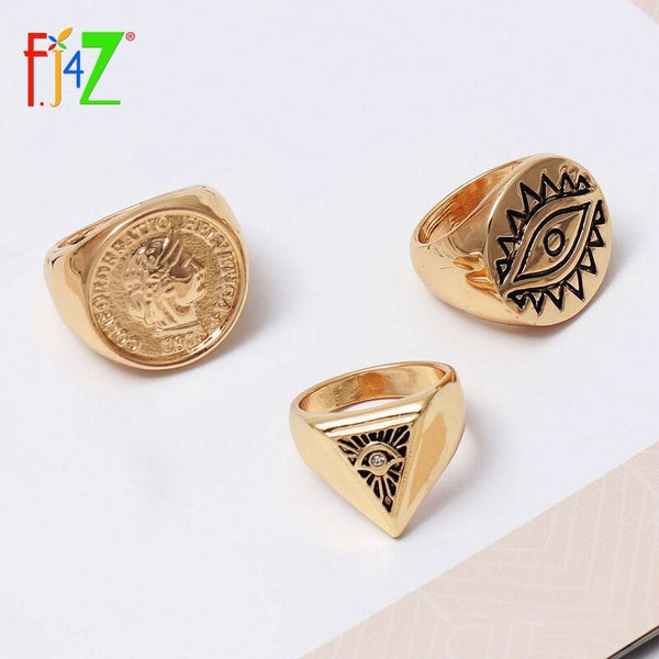 VIcult Coin Eye Top Rings Female Rings