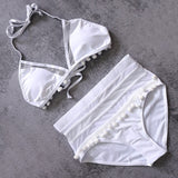 VIcult Sexy Halter Retro Mesh Hollow String Bathing Suit