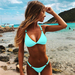 VIcult Sexy Thong Solid Push up Swimwear