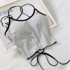 VIcult Halter Backless Bandage Sexy Crop Top