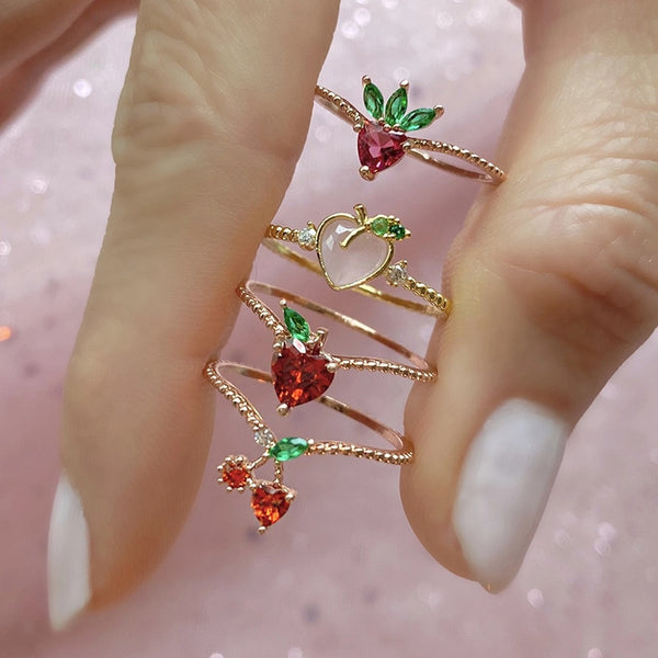 VICULT 18k Gold Dainty Fruit Ring Gems