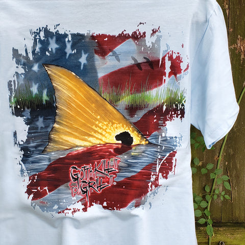 Old Glory Redfish Pocket Tee