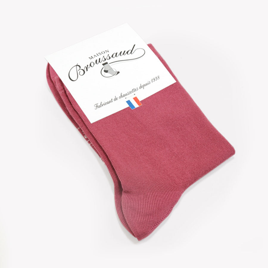 Mi-chaussette unie Rose Made in France Maison Broussaud