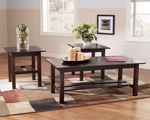 Signature Design by Ashley - Lewis Contemporary 3-Piece Table Set, Medium Brown