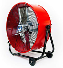 Load image into Gallery viewer, Maxx Air | Industrial Grade Air Circulator for Garage, Shop, Patio, Barn Use | 24-Inch High Velocity Drum Fan, Two-Speed (Red)