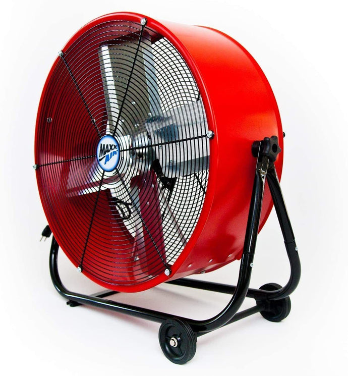 Maxx Air | Industrial Grade Air Circulator for Garage, Shop, Patio, Barn Use | 24-Inch High Velocity Drum Fan, Two-Speed (Red)