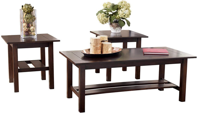 Signature Design by Ashley - Lewis Contemporary 3-Piece Table Set, Medium Brown (Medium Brown)