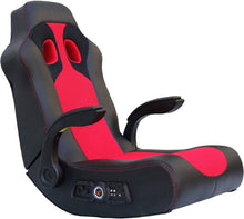 "Load image into Gallery viewer, Ace Bayou X Rocker Vibe 2.1 Wireless Bluetooth Highback Rocking Video Gaming Floor Chair, Vibration, Foldable, Breathable Mesh, 2 Speakers, 4"" Subwoofer, Padded Arms and Head Rest - Black/Red, 5172801"