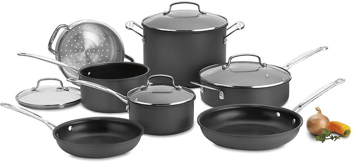 Cuisinart 66-14N 14 Piece Chef's Classic Non-Stick Hard Anodized Cookware Set, Gray