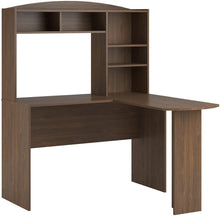 Load image into Gallery viewer, Ameriwood Home Dakota Space Saving L Desk with Hutch, Dark Russet Cherry