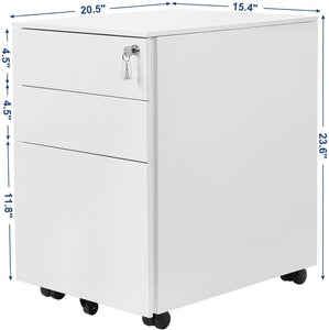 SONGMICS Steel File Cabinet 3 Drawer with Lock Mobile Pedestal Under Desk Fully Assembled Except Casters Black UOFC60BK