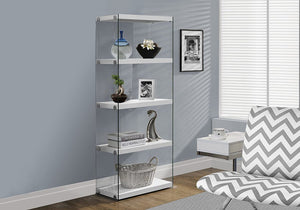 "Monarch Specialties I Bookcase-5-Shelf Etagere Bookcase Contemporary Look with Tempered Glass Frame Bookshelf, 60""H, (White)"
