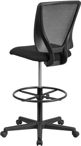 Flash Furniture Ergonomic Mid-Back Mesh Drafting Chair with Black Fabric Seat and Adjustable Foot Ring,
