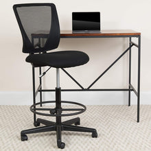 Load image into Gallery viewer, Flash Furniture Ergonomic Mid-Back Mesh Drafting Chair with Black Fabric Seat and Adjustable Foot Ring,