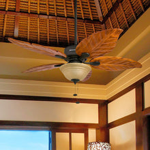 Load image into Gallery viewer, Honeywell Sabal Palm 52-Inch Tropical Ceiling Fan with Sunset Bowl Light, Five Hand Carved Wooden Leaf Blades, Lindenwood/Basswood, Bronze