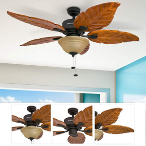 Honeywell Sabal Palm 52-Inch Tropical Ceiling Fan with Sunset Bowl Light, Five Hand Carved Wooden Leaf Blades, Lindenwood/Basswood, Bronze