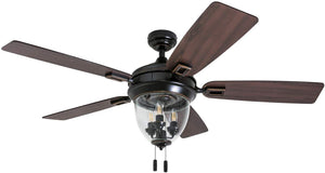 "Honeywell Ceiling Fans 50615-01 Glencrest 52"" Indoor & Outdoor, LED Edison Bulbs, ETL Damp Rated Aged Teak/Dark Walnut Blades, Oil Rubbed Bronze"