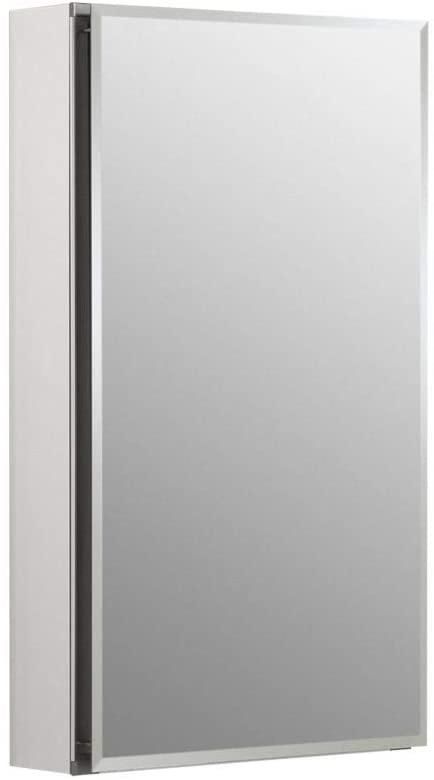 Kohler K-CB-CLC1526FS Frameless 15 Inch X 26 Inch Aluminum Bathroom Medicine Cabinet; Recess Or Surface Mount