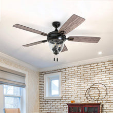 "Load image into Gallery viewer, Honeywell Ceiling Fans 50615-01 Glencrest 52"" Indoor & Outdoor, LED Edison Bulbs, ETL Damp Rated Aged Teak/Dark Walnut Blades, Oil Rubbed Bronze"