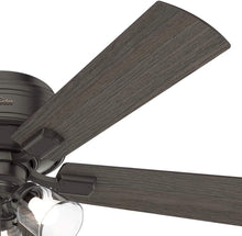Load image into Gallery viewer, Hunter Indoor Low Profile Ceiling Fan, with pull chain control - Crestfield 52 inch, New Bronze, 54208