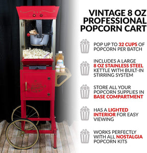 Nostalgia Concession CCP510 Vintage Professional Popcorn Cart-New 8-Ounce Kettle-53 Inches Tall-Red