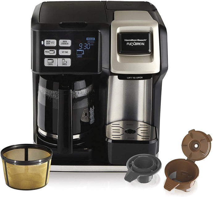 Hamilton Beach FlexBrew Coffee Maker, Single Serve & Full Pot, Compatible with K-Cup Pods or Grounds, Programmable, Includes Permanent Filter, Black (49950C), Silver (Black and Silver)