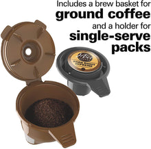 Load image into Gallery viewer, Hamilton Beach FlexBrew Coffee Maker, Single Serve & Full Pot, Compatible with K-Cup Pods or Grounds, Programmable, Includes Permanent Filter, Black (49950C), Silver