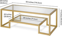 Load image into Gallery viewer, Henn&Hart Modern Geometric-Inspired Glass Coffee Table, One Size, Gold