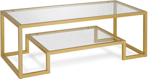 Henn&Hart Modern Geometric-Inspired Glass Coffee Table, One Size, Gold