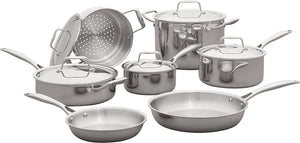 Stone & Beam Tri-Ply Stainless Steel Kitchen Cookware Set, Pots and Pans, 12-Piece