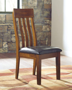 Signature Design by Ashley - Ralene Upholstered Dining Side Chair - Rake Back Style - Set of 2 - Medium Brown