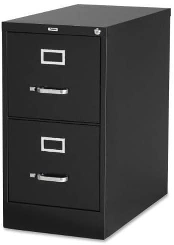 Lorell 2-Drawer Vertical File, 15 by 22 by 28, Black LLR42291
