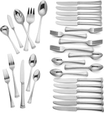 Load image into Gallery viewer, Lenox 815486 Portola Stainless Steel 65-Piece Flatware Set, Silver
