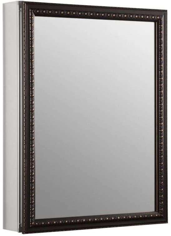 KOHLER K-2967-BR1 20 inch x 26 inch Aluminum Bathroom Medicine Cabinet with Oil-Rubbed Bronze Framed Mirror Door; Recess or Surface Mount (One Size Oil-rubbed Bronze)