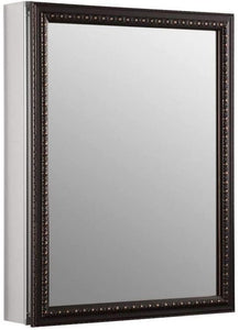KOHLER K-2967-BR1 20 inch x 26 inch Aluminum Bathroom Medicine Cabinet with Oil-Rubbed Bronze Framed Mirror Door; Recess or Surface Mount