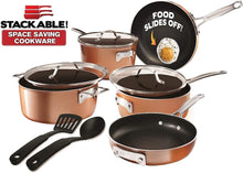 Load image into Gallery viewer, Gotham Steel Stackable Pots and Pans Set – Stackmaster 10 Piece Cookware Set with Ultra Nonstick Cast Texture Ceramic Coating, Saves 30% Space, Sauce Pans, Stock Pots, Skillets & More –Dishwasher Safe (10 Piece Set with Utensils)
