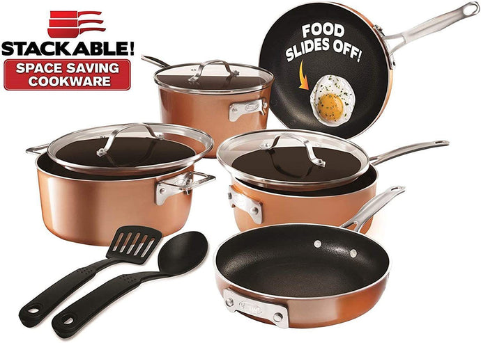 Gotham Steel Stackable Pots and Pans Set – Stackmaster 10 Piece Cookware Set with Ultra Nonstick Cast Texture Ceramic Coating, Saves 30% Space, Sauce Pans, Stock Pots, Skillets & More –Dishwasher Safe (10 Piece Set with Utensils)