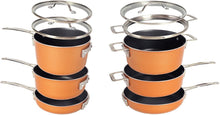 Load image into Gallery viewer, Gotham Steel Stackable Pots and Pans Set – Stackmaster 10 Piece Cookware Set with Ultra Nonstick Cast Texture Ceramic Coating, Saves 30% Space, Sauce Pans, Stock Pots, Skillets & More –Dishwasher Safe
