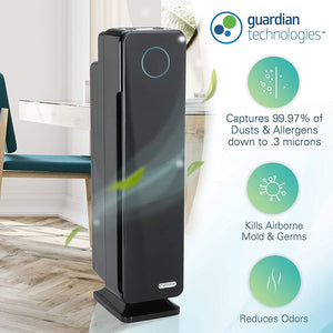 Germ Guardian True HEPA Filter Air Purifier for Home, Office, Large Room, Filters Allergies, Pollen, Smoke, Dust, Pet Dander, UVC Sanitizer Eliminates Germs, Mold, Odors, Quiet 28 inch 3-in-1 AC5300B