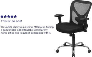 Flash Furniture Big & Tall Office Chair | Adjustable Height Mesh Swivel Office Chair with Wheels, BIFMA Certified