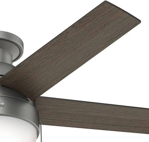 "Hunter Fan Company 59270 Hunter 46"" Anslee Low Profile Matte Silver Ceiling Fan with Light"