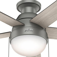 "Load image into Gallery viewer, Hunter Fan Company 59270 Hunter 46"" Anslee Low Profile Matte Silver Ceiling Fan with Light"