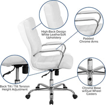 Load image into Gallery viewer, Flash Furniture High Back Office Chair | White LeatherSoft Office Chair with Wheels and Arms, BIFMA Certified